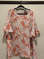 Basque Women Top Size 22, Pink/red/blue Floral, Excellent cond, ruffle sleeve.