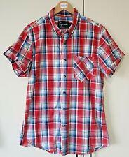 Topman Men's Shirt Size Medium Red Check Button Down Multi Colour Pocket Casual