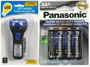 Compact LED (White or Blue) Flashlight/Lantern with 4 AA Batteries, NEW.