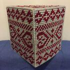 Handmade Plastic Canvas Tissue Box Cover GEOMETRIC Topper Boutique NEW Gift Idea