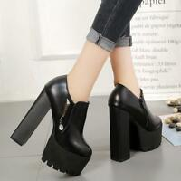 Womens Leather Chunky High Heel Leisure Shoes Platform Round Toe Sexy Clubwear