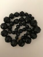 Extra Large Whitby Jet Antique Three Strand Bead Heavy Necklace Statement