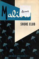 MALIBU SHORE CLUB Restaurant Menu Lido Beach Long Island N. Y.