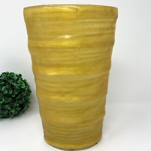 Crate&Barrel Oval Butter Color Glass Flower Vase Yellow Home Decor