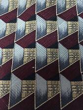 Louis Feraud Art Deco Tie Silk Necktie Made in USA Silver Tan Gray Black