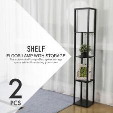 2Pcs Mid-Century Standing Column Floor Lamps 100W 3 Shelves for Bed Living Room