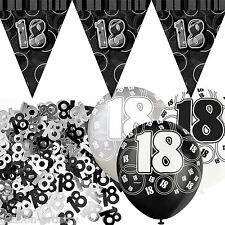 Black Silver Glitz 18th Birthday Flag Banner Party Decoration Pack Kit Set