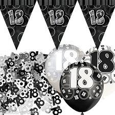 Black Silver Glitz 18th Birthday Flag Banner Party Decoration Pack Kit Set