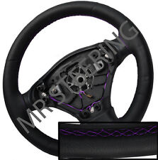 FOR ROVER 75 98-05 BLACK ITALIAN LEATHER STEERING WHEEL COVER PURPLE STITCH