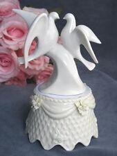 White Glazed Porcelain Doves and Roses Wedding Cake Topper with Porcelain Base