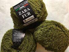LOT of 3 Filatura di Crosa Zara Fur Yarn #1 Olive Green Fuzzy Merino Wool Blend