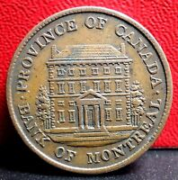 Higher Grade 1842 Province of Canada Half Penny Bank of Montreal Bank Token