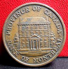 Higher Grade 1842 Province of Canada Half Penny Bank of Montreal Bank Token