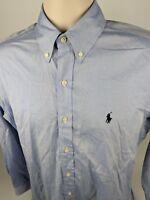 Ralph Lauren Men's Dress Shirt 15 - 32/33 Button Front Blue Long Sleeve Cotton