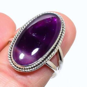 Star Amethyst Gemstone Handmade 925 Solid Sterling Silver Jewelry Ring Size 8