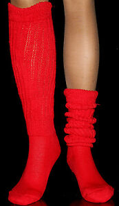 2 Red Large Slouch to thigh hi Knee Socks for Hooters Uniform Heavy Warm Cozy