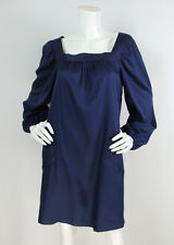 Anthropologie Fei Sz M Navy Silk/Wool Peasant Sleeve Flowy Tunic Dress