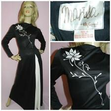 VINTAGE 70 s Black Cream Art Déco Floral Applique Robe Longue 8 S 1970 S glamour