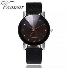 Women's Casual Leather Band Diamond Quartz Watch Simple Analog Wrist Watches