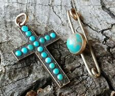 ANTIQUE/ VINTAGE TURQUOISE STONED CROSS PENDANT & POINTED CABOCHON PIN BROOCH
