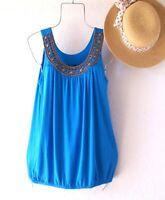 New~Blue Peasant Blouse Shirt Tank Pullover Boho Top~Size Large L