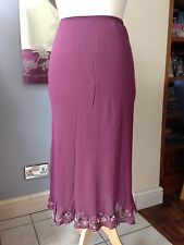 Country Casuals 100% Silk Petite Dusky Pink Skirt Embellished Hem Petite Small