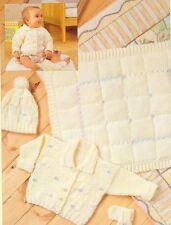 Knitting Pattern Baby Cardigan, Blanket, Hat & Mittens Pram Set