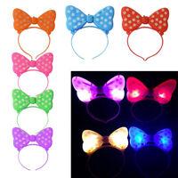 Girls Cute Bow LED Flashing Light Headband Fancy Dress Ladies Hair Accessory UK