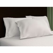 Sateen Stripe 300 Thread Count 100% Cotton Pillowcase, Standard/Queen, White
