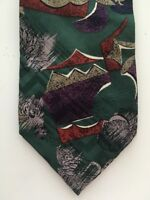 Vintage Christian Dior Green Men's Neck Tie Silk Mod Geometric Purple Abstract