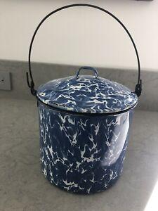 Antique LARGE Cobalt Blue Swirl Pot Bucket Graniteware Enamelware
