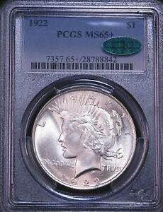 1922 Peace Silver Dollar PCGS MS65+ CAC Blast White Superb Frosty Luster PQ #D26