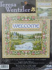 Teresa Wentzler ENGLISGH GARDEN WELCOME , X stitch with BEADS  Kit MPN 113976