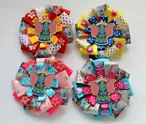 Beautiful Dumbo Girls hair Bow clips,4 designs, Handmade.