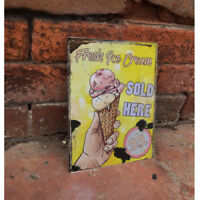Fresh Ice Cream 99 Sold Here - VINTAGE ENAMEL METAL TIN SIGN WALL PLAQUE