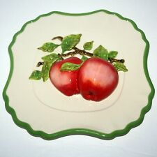 Vintage 3D Hand Painted APPLE FRUIT Wall Hanging Plate, Valerie, 10 Inch