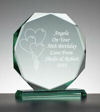 Personalised Engraved Glass Presentation Gift - 30th 40th 50th 60th Any Birthday