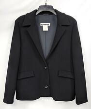 JIL SANDER Sz 10 Black Long Sleeve Box Cut Short Blazer Jacket