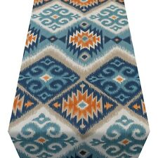 Navajo Kilim Style Table Runner. Teal Blue & Orange Abstract Geometric Design.