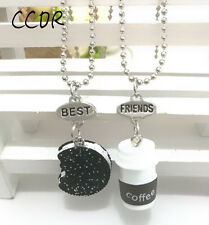 2PCs Best Friends Coffee Biscuit Pendants Necklaces Stereo For Children Jewelry