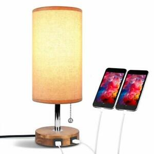 Modern Bedside Table Lamp USB Powered With 2 x Charging Ports, Brown UK