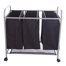 Wäschewagen mit 3 Fächern Wäschesortierer Wäschesammler Wäschekorb Schwarz