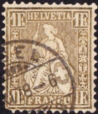 Switzerland - 1864 - 1 Franc Yellowish Bronze Seated Helvetia Issue #50a Scarce!