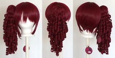 18'' Ringlet Curly Pony Tail + Base Burgundy Red Cosplay Lolita Wig NEW
