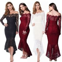 Women's Fishtail Off Shoulder Lace Dresses Long Sleeve Party Evening Wrap Dress