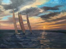 Original Oil Painting Harbor Sunset Lake Sailboat Holland Michigan 30x40 Haigh