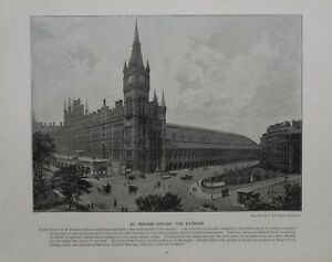 1896 LONDON PRINT + TEXT ST.PANCRAS STATION THE EXTERIOR