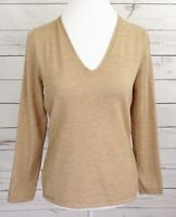 Ann Taylor Wool Top Womens Medium M Beige Solid V-Neck Long Sleeve Knitted Knit