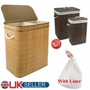 Bamboo Laundry Hamper Basket Wicker Clothes Storage Sorter Bin Corner With Lid