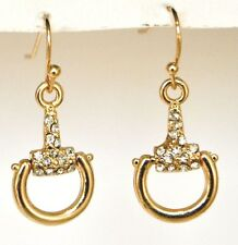 Gold Toned Crystal Rhinestone Horse Stirrup Dangle Hook Earrings
